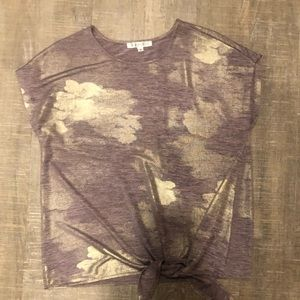 Purple and gold tie front tee